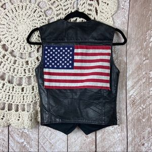Schott Leather Mororcycle American Flag Vest
